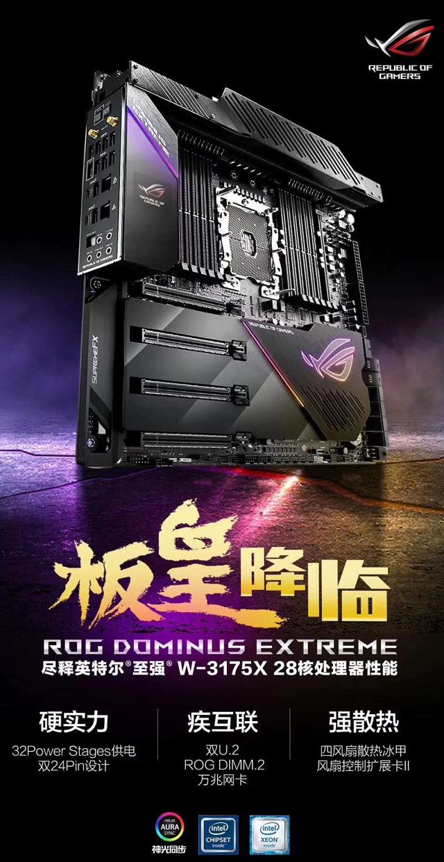 专配Xeon W-3175X!华硕发布ROG Dominus Extreme主板:32相供电+12条内存